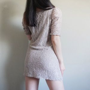 4/$15 H&M Gray Taupe Lace Overlay Dress